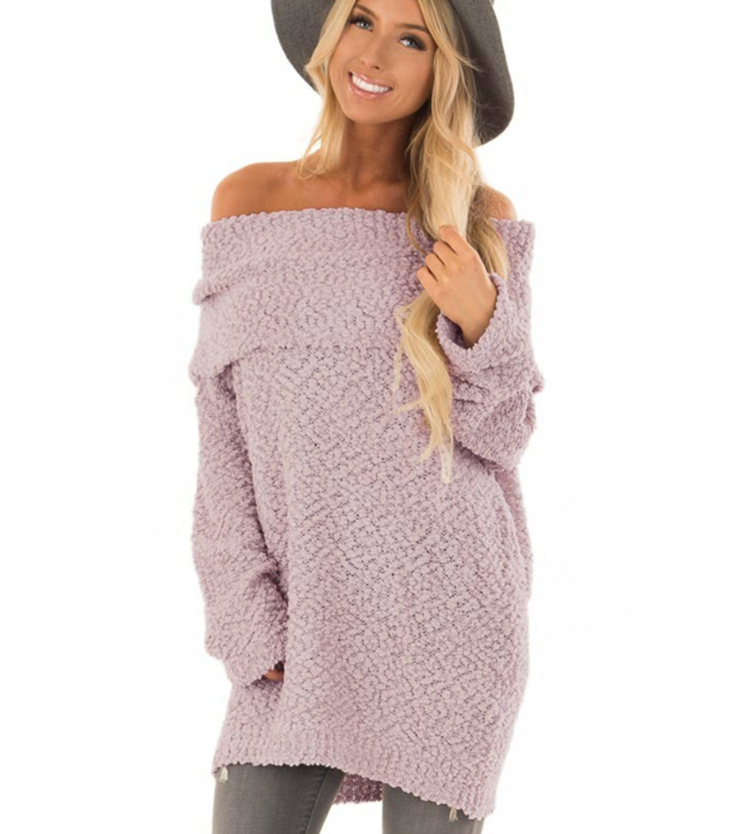PRE-ORDER Off Shoulder Popcorn Sweater (ESTIMATED SHIP NOVEMBER)