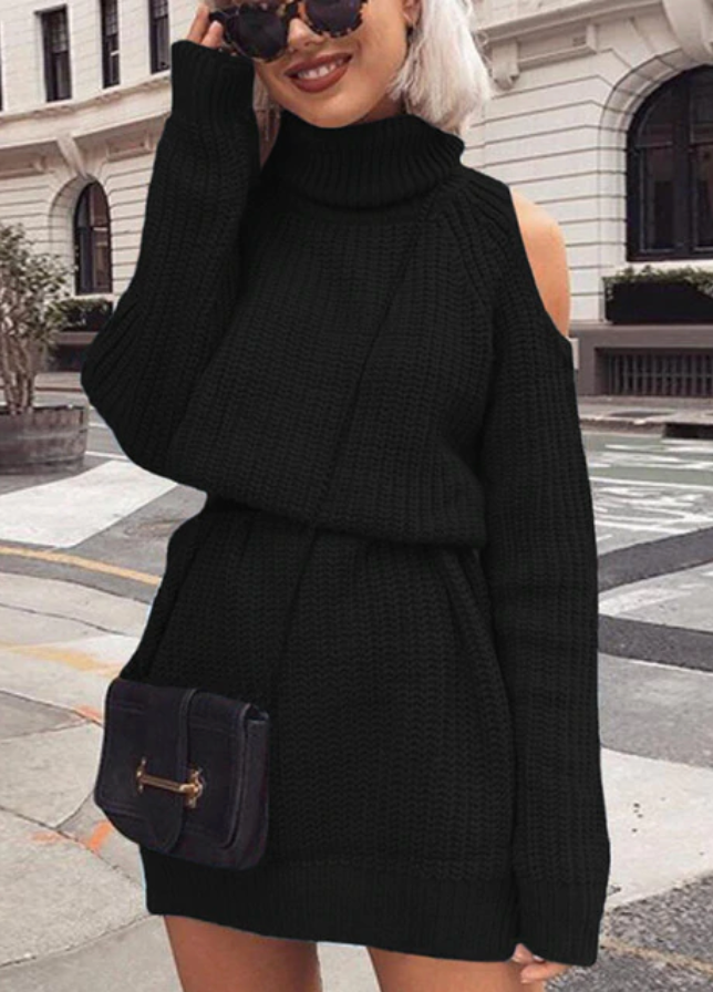 PRE-ORDER Slouchy Cold Shoulder Sweater Dress - Black (ESTIMATED SHIP OCTOBER)
