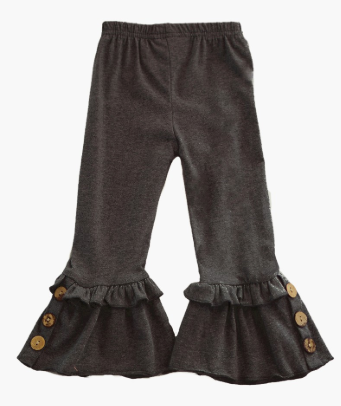 PRE-ORDER Black Marled Button Ruffle Pants (ESTIMATED SHIP ASAP)