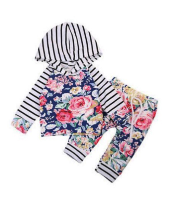 PRE-ORDER  Stripes & Floral Hoodie Set (ESTIMATED SHIP ASAP)
