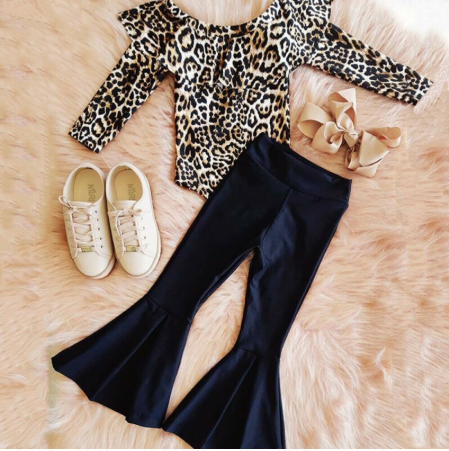 PRE-ORDER Leopard Bodysuit & Bell Pants Set (ESTIMATED SHIP OCTOBER)