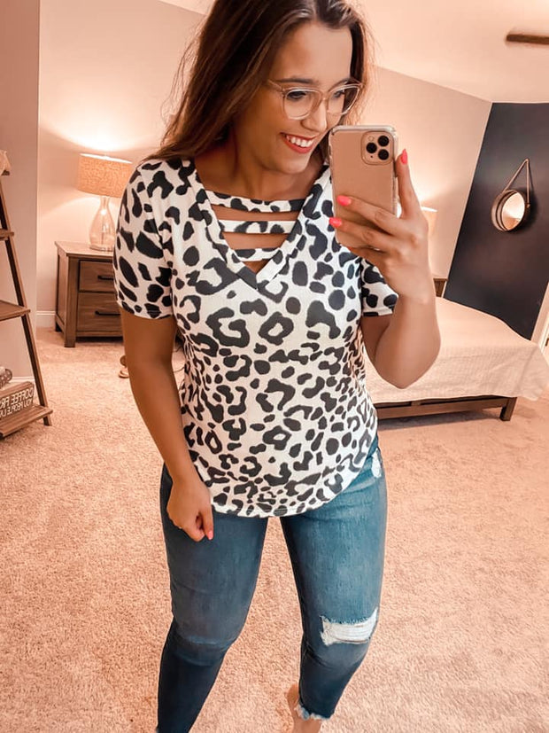 Treat Me Right Charcoal Leopard Top