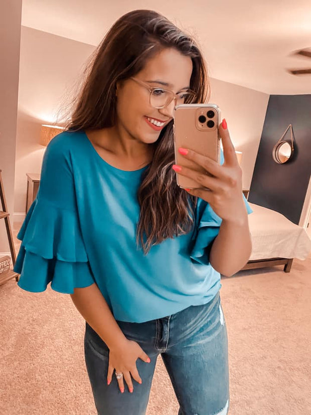 Teal Me A Secret Wrinkle Resistant Blouse