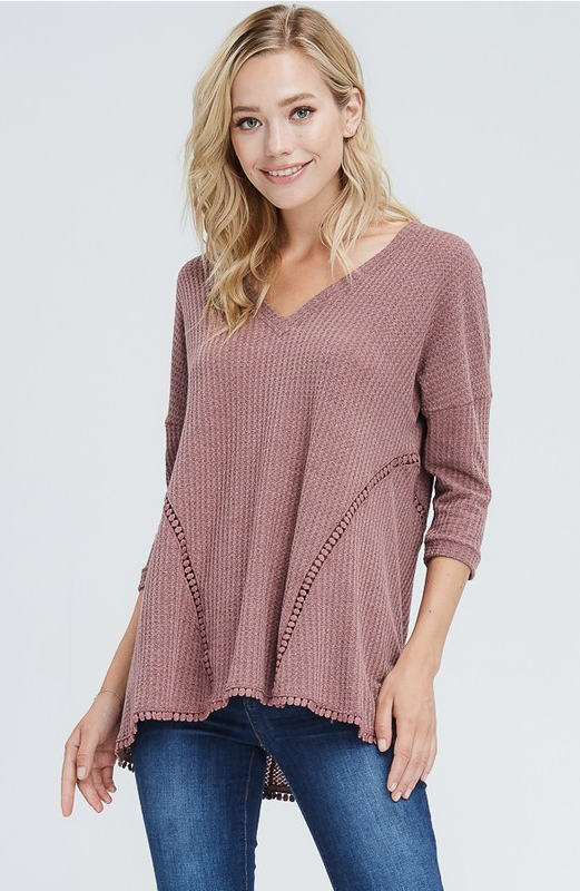 Waffle Top with Pom Lace Trim