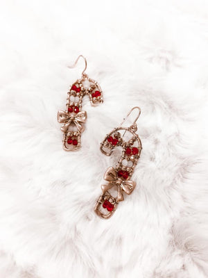 Candy Cane Beaded Earrings - 2 Colors
