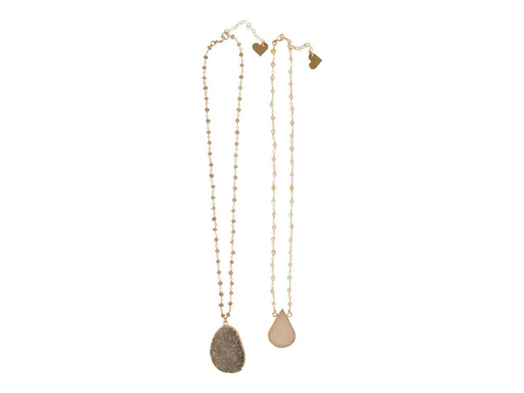 LOVE, POPPY - Rosary With Druzy Necklace