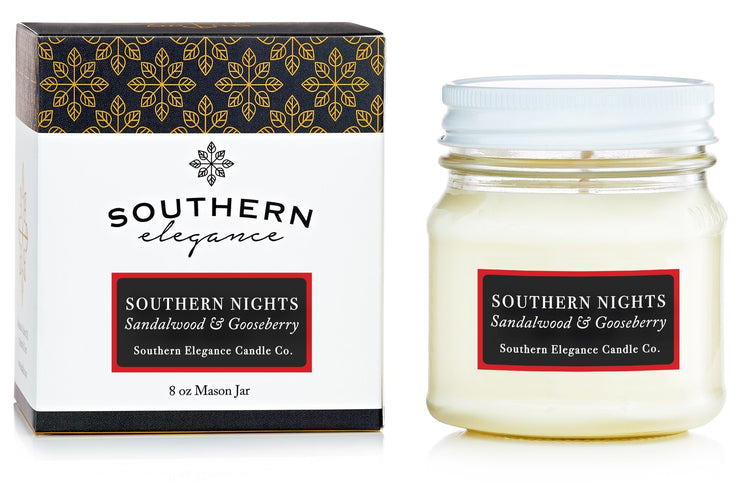 Southern Elegance Candle Co. - Mason: Southern Nights (Sandalwood & Gooseberry)