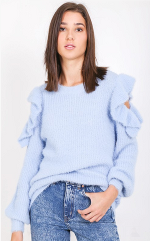 Fuzzy Shoulder Peep Sweater
