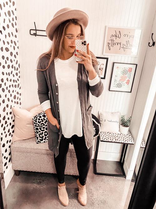 World's Best Button Cardi - Charcoal