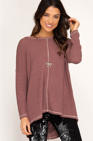 PRE-ORDER  Slouchy Back Waffle Knit