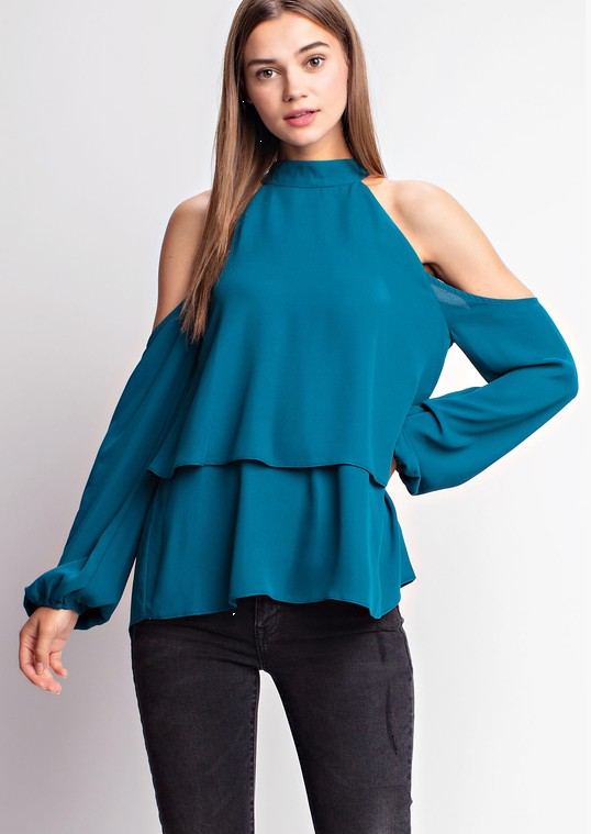Teal Bow Back Blouse