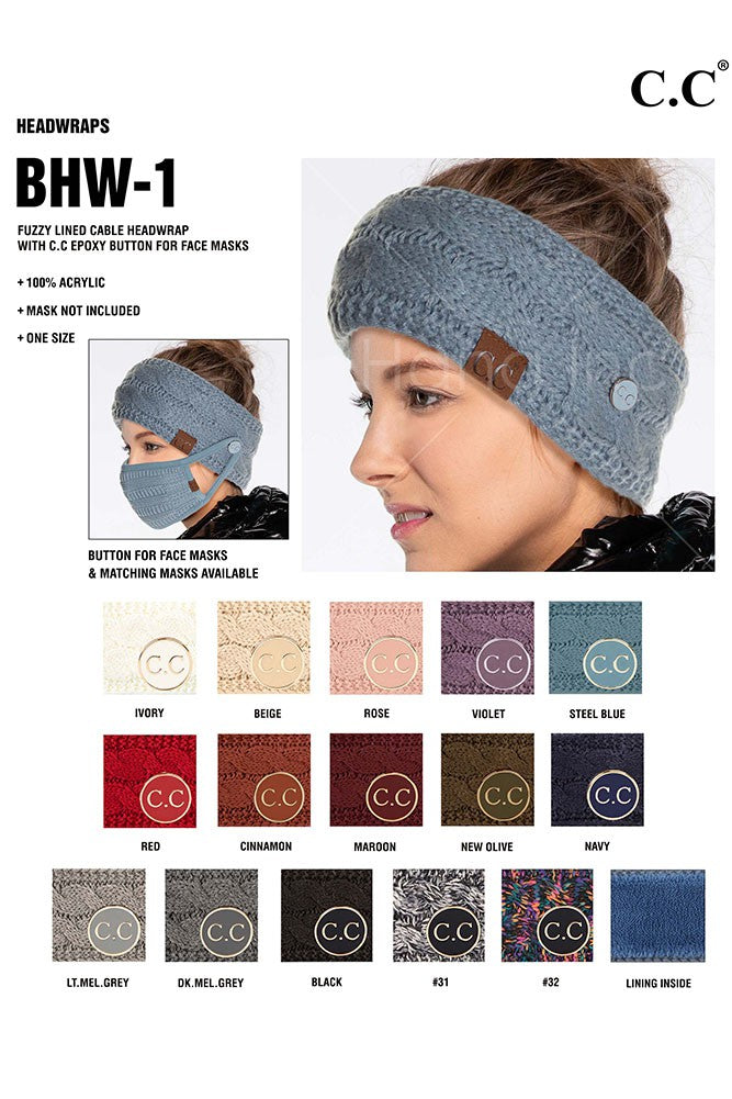CC Ribbed Knit Side Button Headband for Face Mask