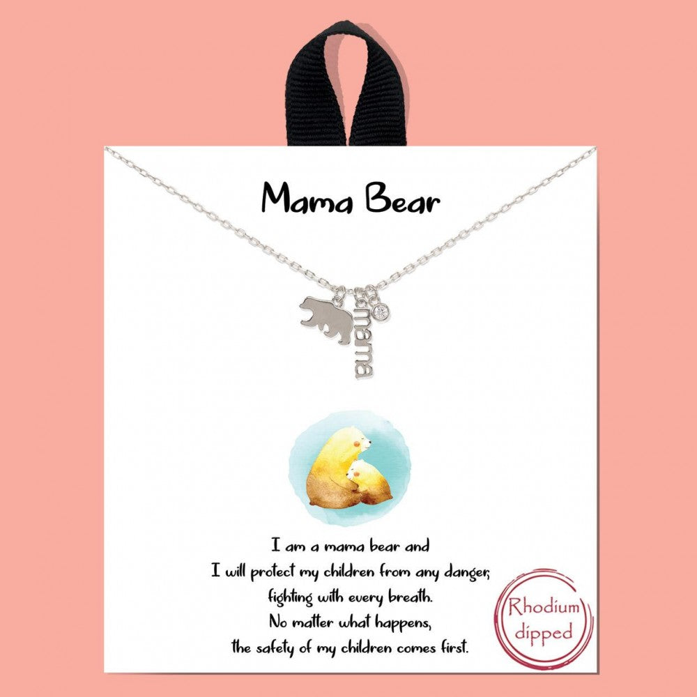 MAMA Bear Rhodium Dipped Necklace
