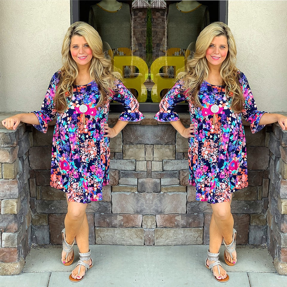 Floral Babydoll Dress with Ruffle Sleeve