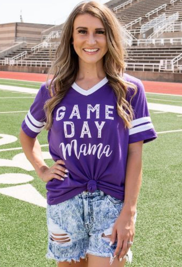 Purple and White Game Day Mama