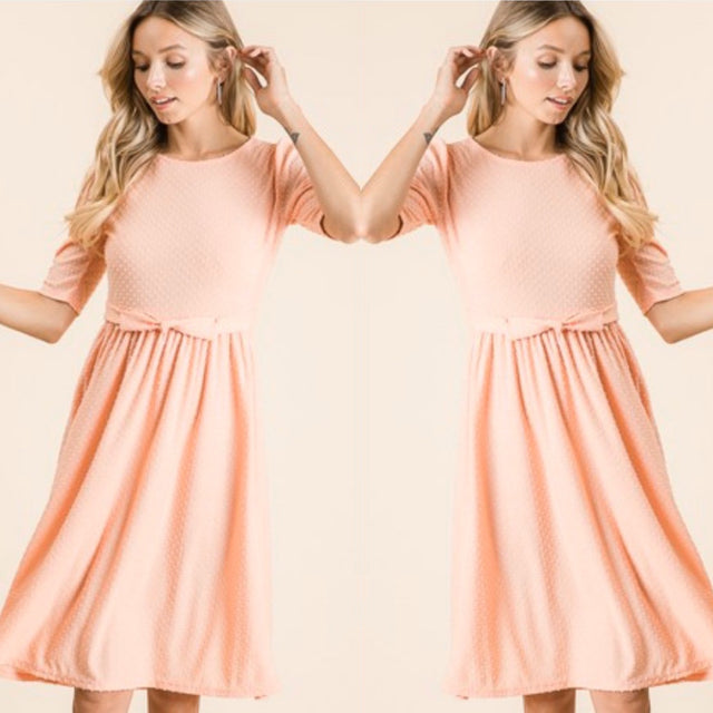 Peach Swiss Dotted Fabric Dress
