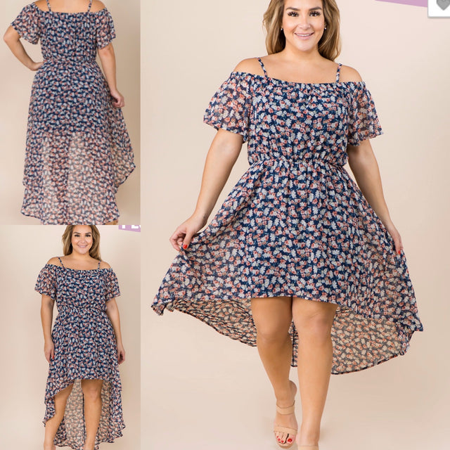 Curvy ~ High Low Floral Dress