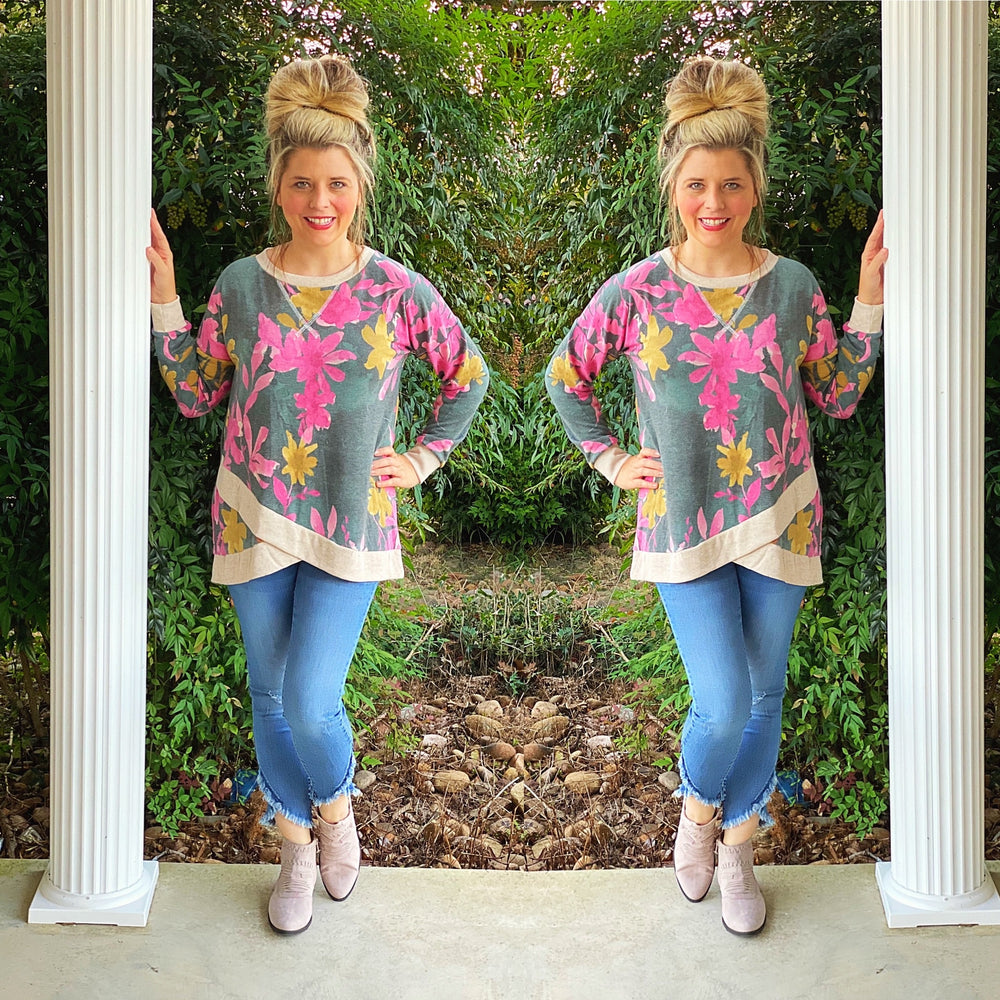 Floral Criss Cross Trim Sweatshirt