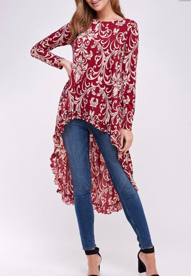 Burgundy Demask Print High Low Tunic