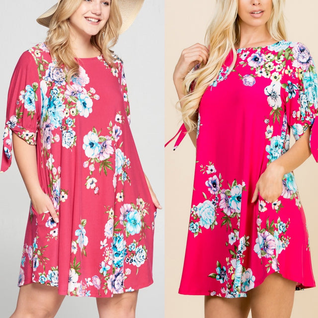 Floral Dress with Tie Sleeves