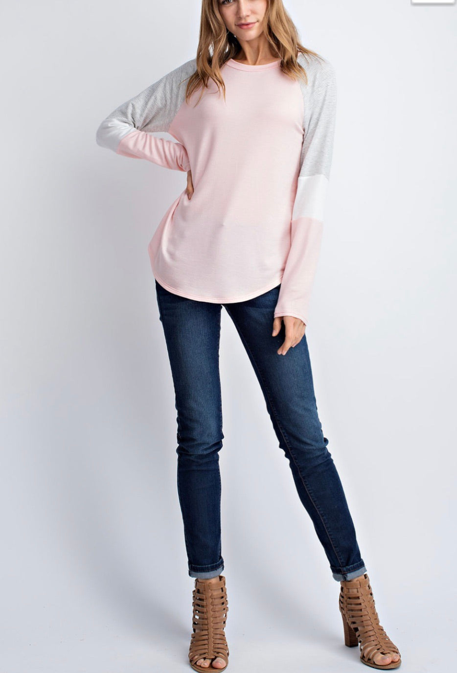 Peach and Gray Long Sleeve Color Block Top