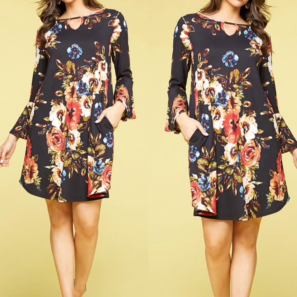 Curvy ~ Keyhole Bell Sleeve Dress