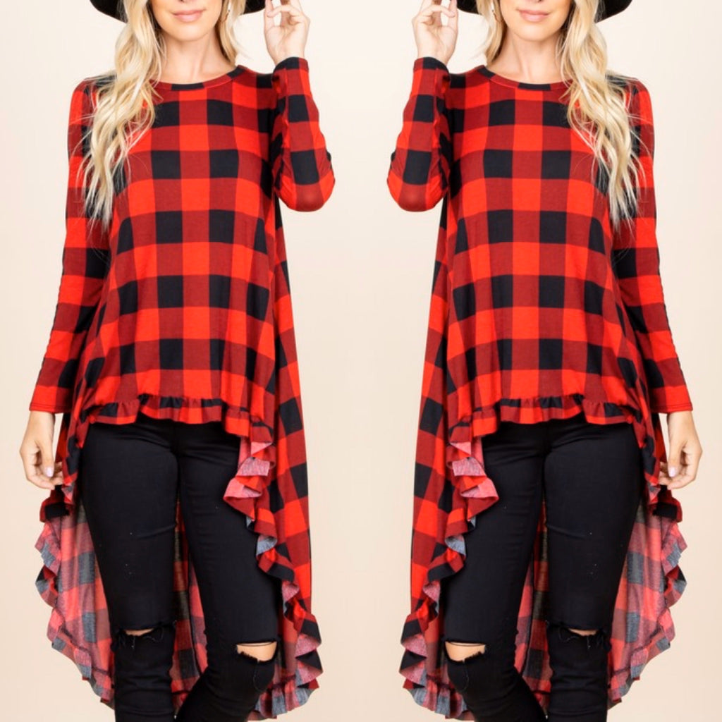 Buffalo Plaid High Low Tunic