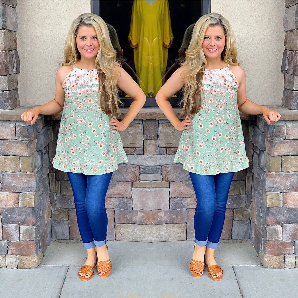 Bordered Print Top