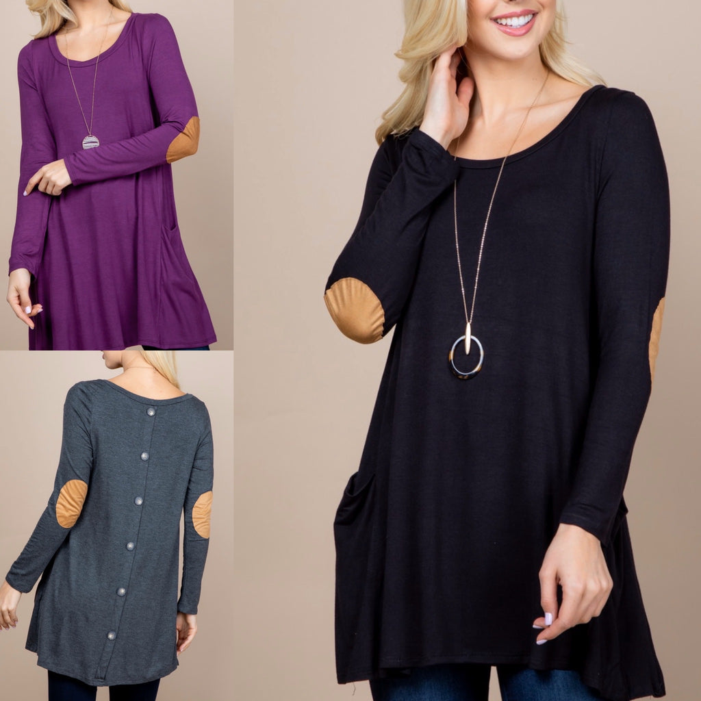 Front Pocket Elbow Patch with Button Details Tunic