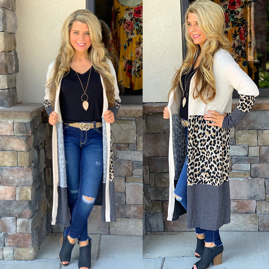 Leopard Color Block Cardigan