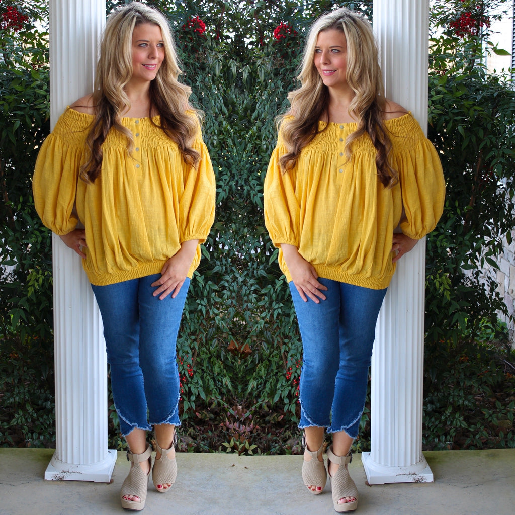 Mango Off Shoulder Button Down Top