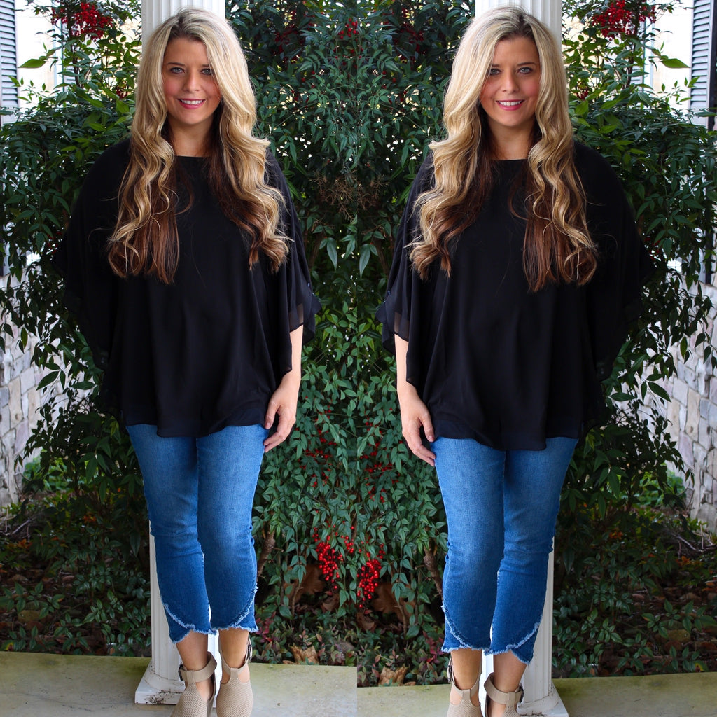 Black Flowy Cape Blouse