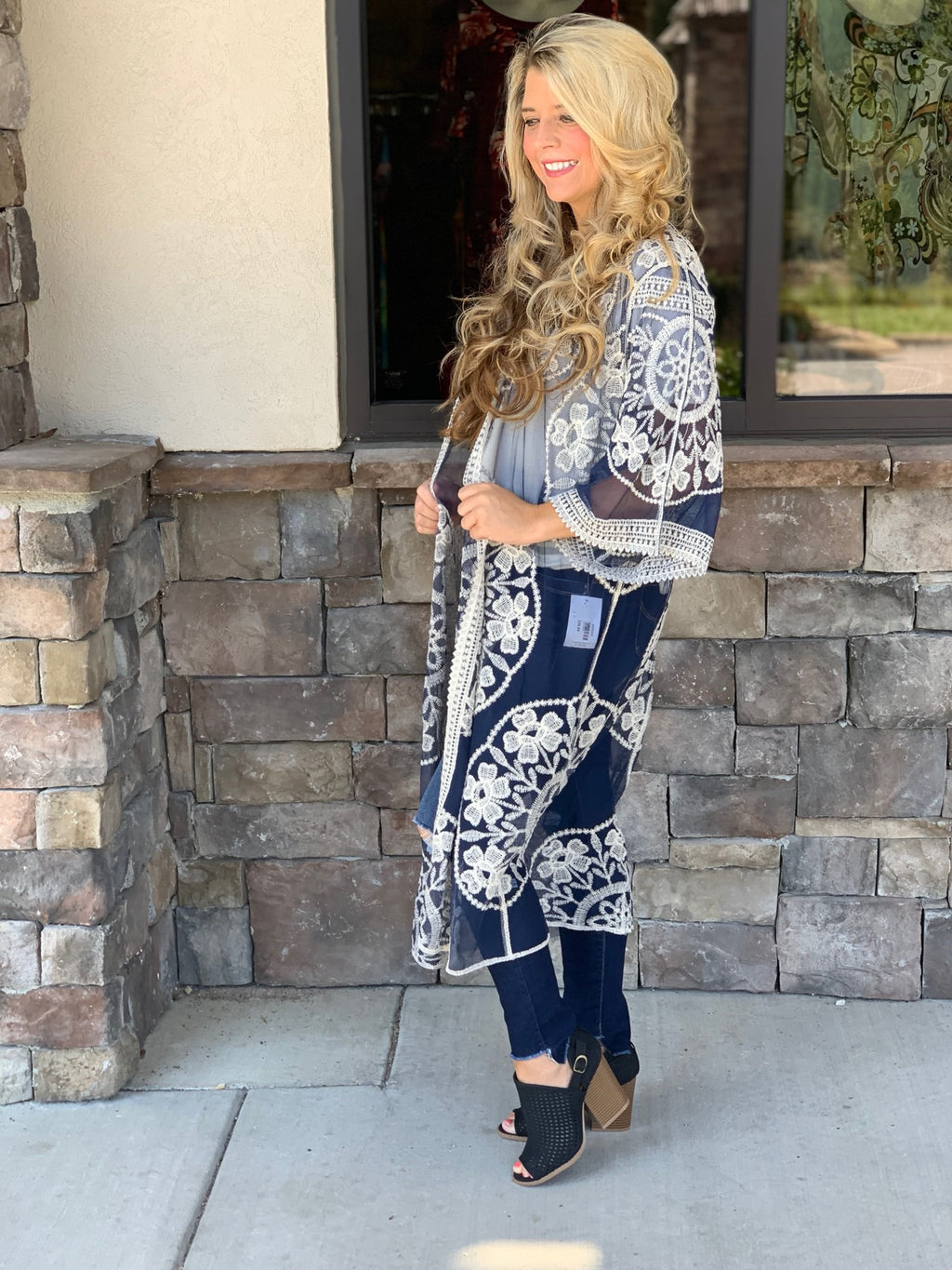 Navy Lace Embroidered Kimono