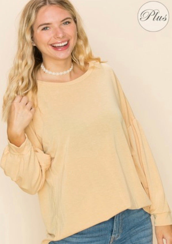 Solid Round Neck Puff Top