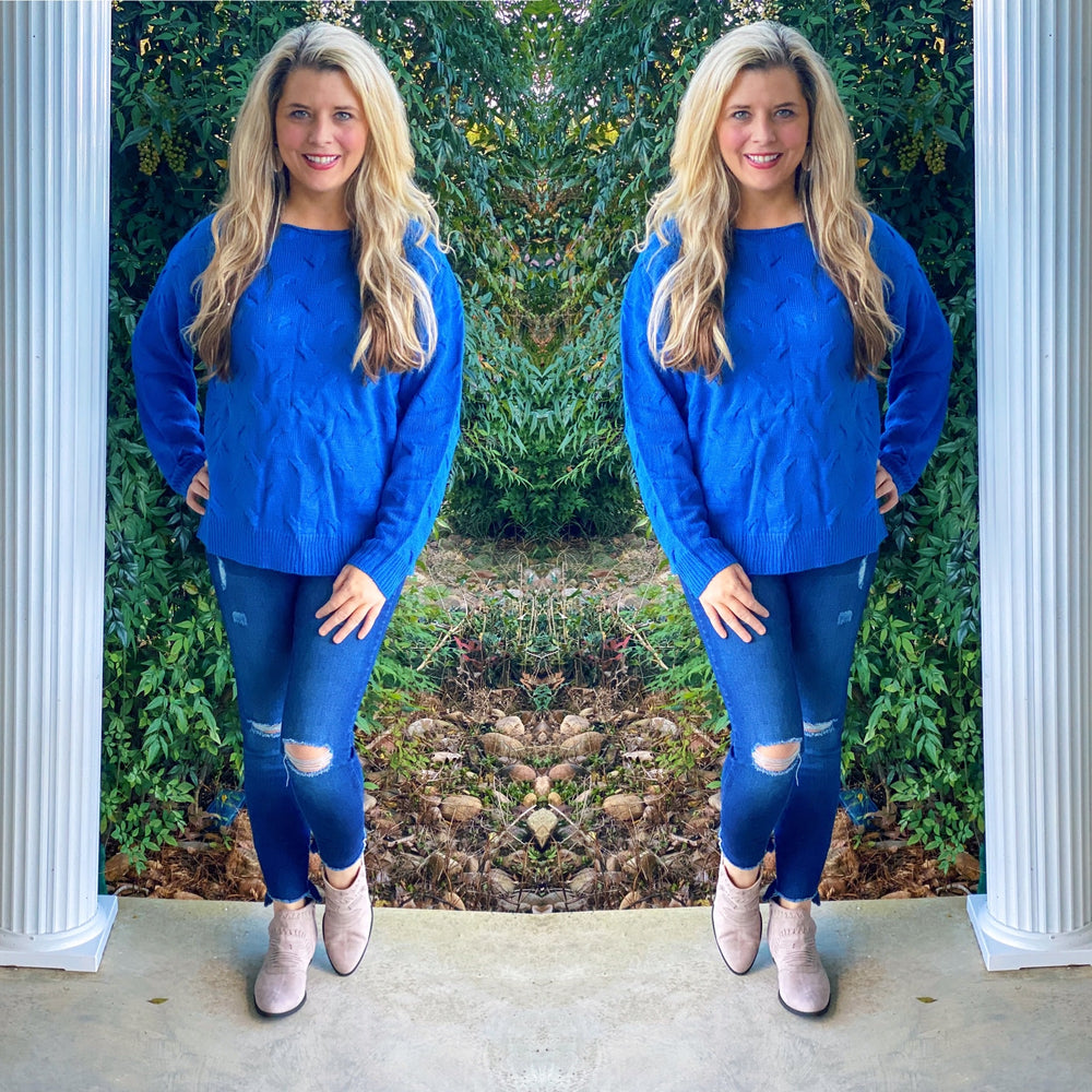 Simply Southern Royal Blue Weave Sweater