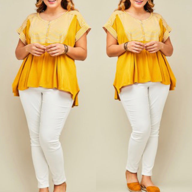 Curvy ~ Mustard Striped Top