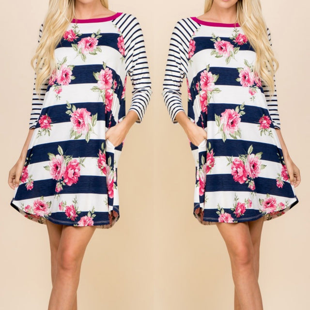 Striped Floral Dress