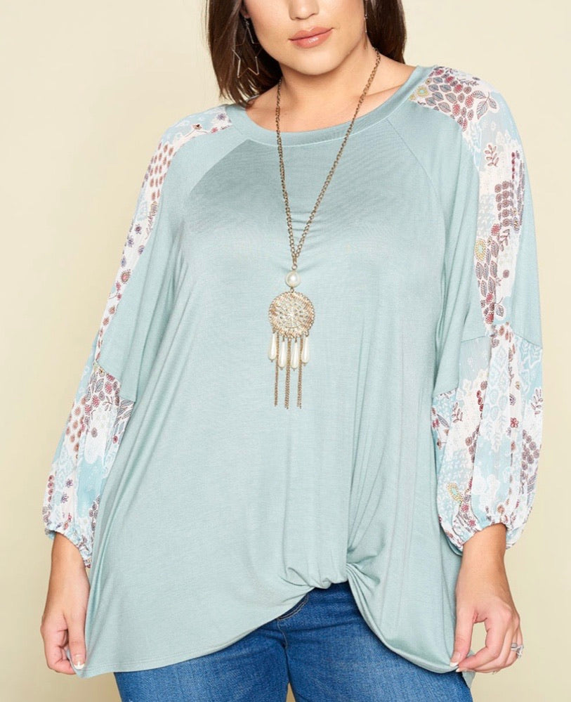 Curvy ~ Floral Chiffon Bubble Sleeve Top