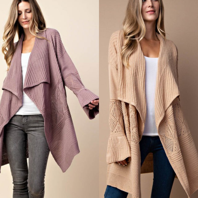 Open Cardigan with Bell Sleeves