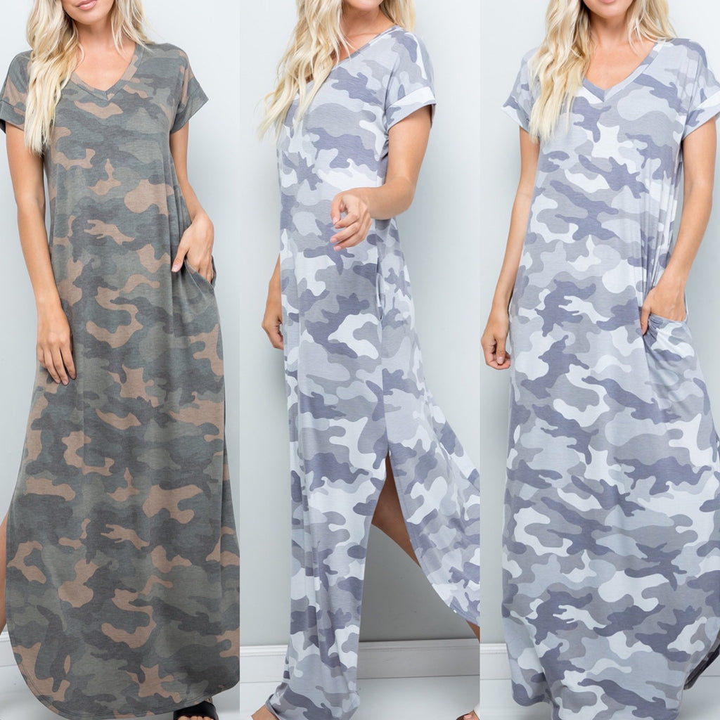 Curvy ~ Camo Oversized Maxi Dress