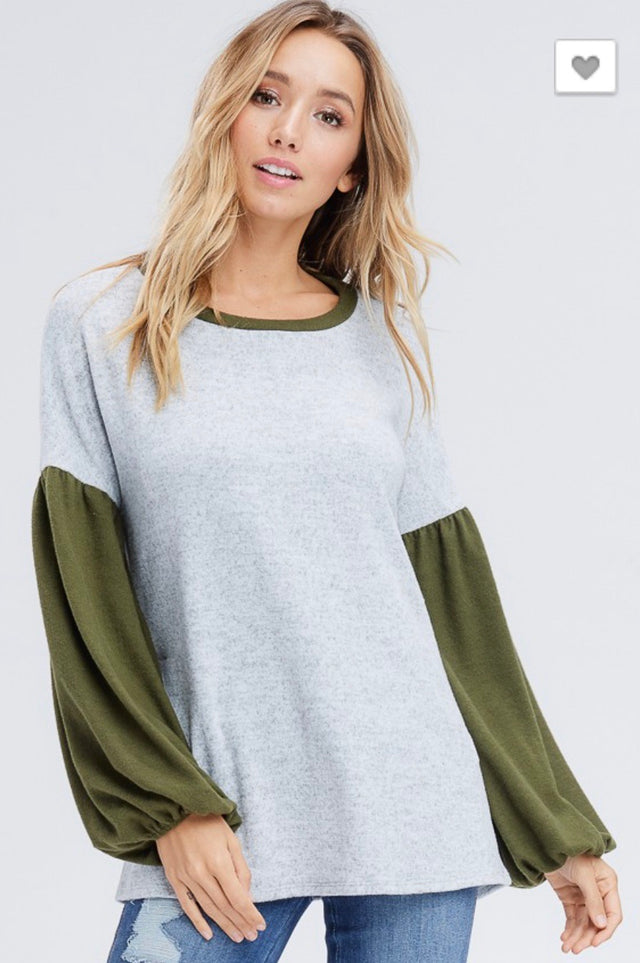 Olive Puff Sleeve Knit Sweater