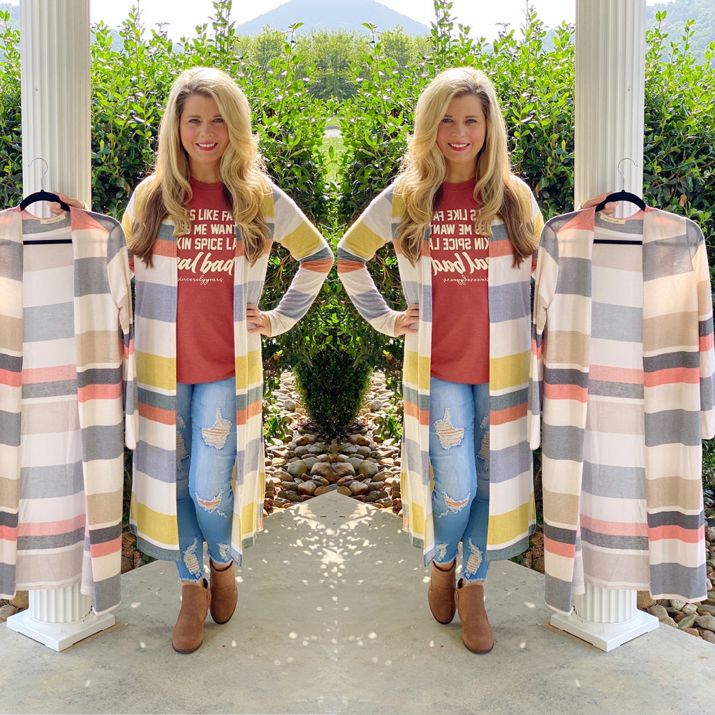 Striped Cardigan with Slits