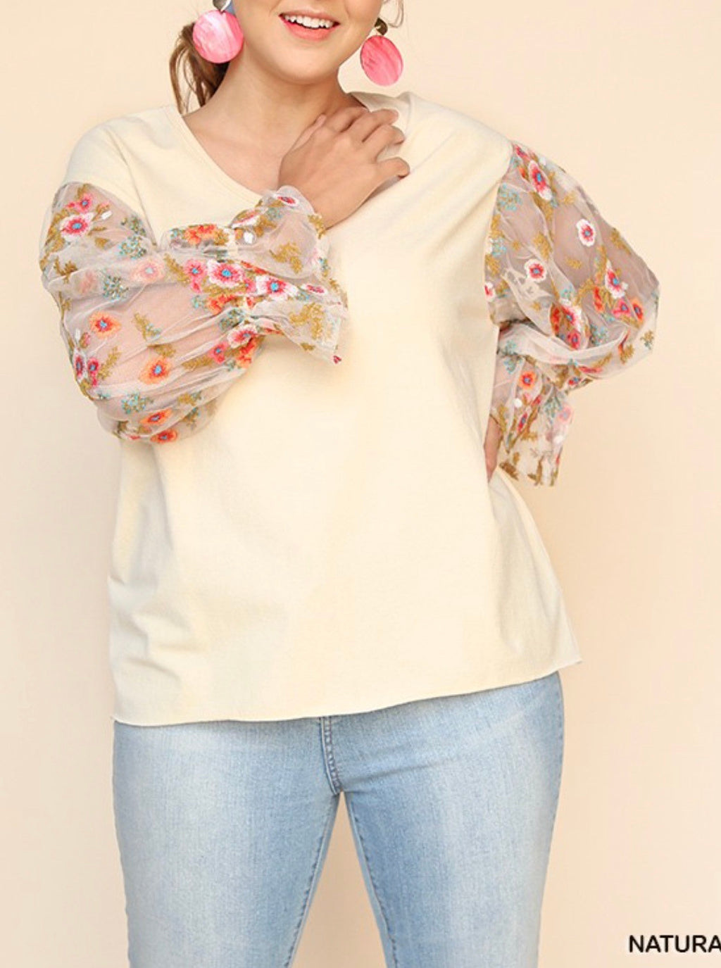 Curvy ~ Sheer Sleeve Embroidered Top