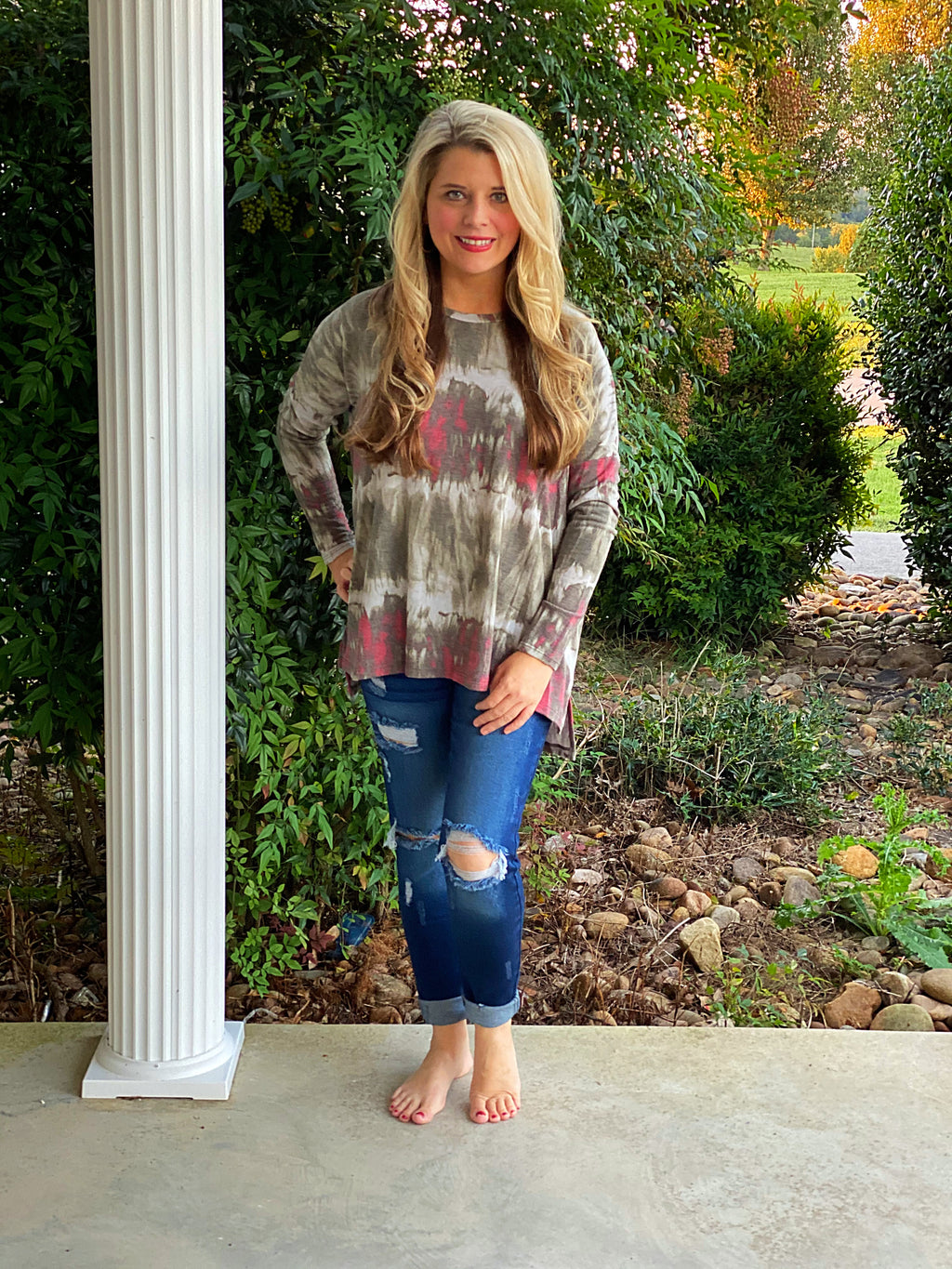 Tie Dye Olive and Burgundy Top