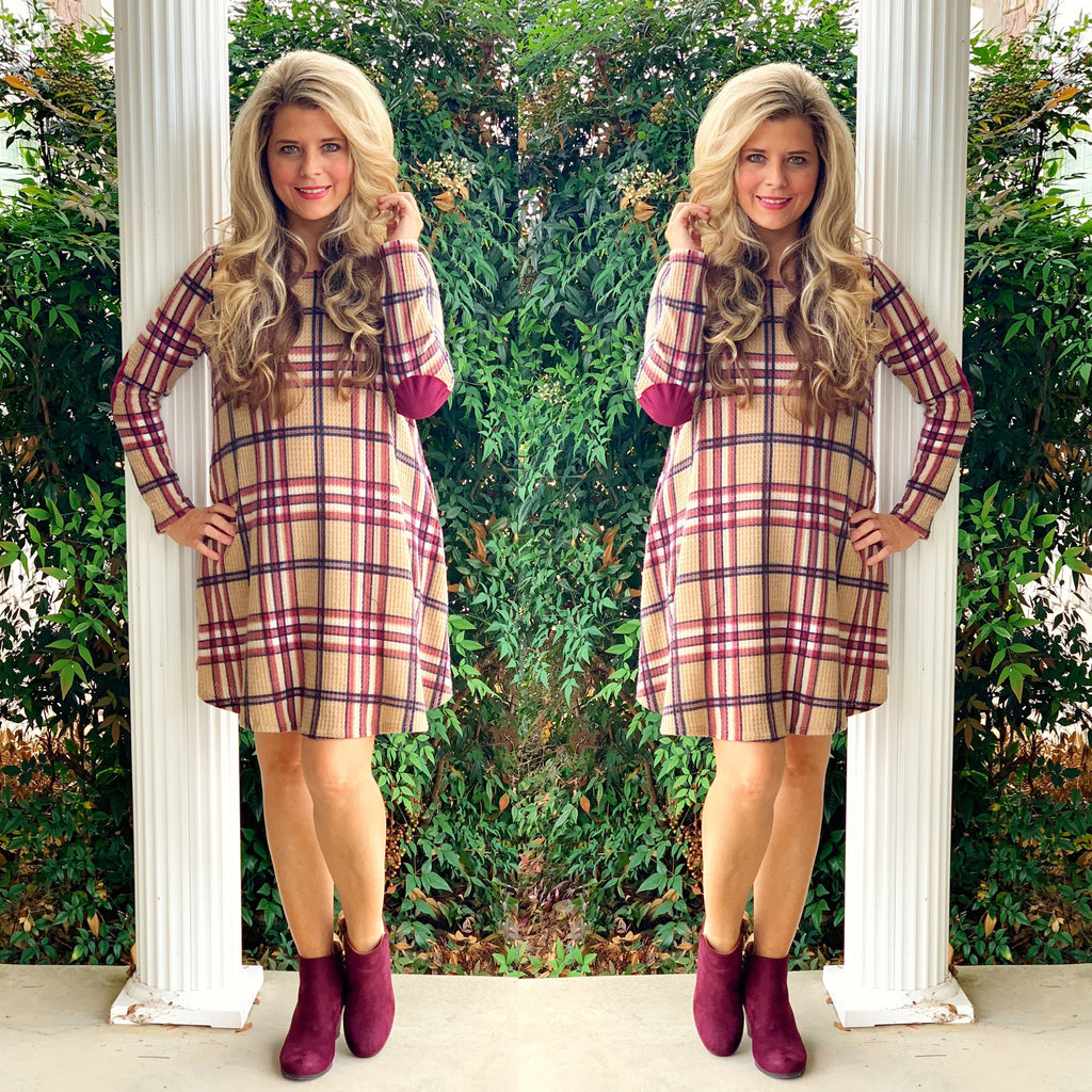 Plaid Checkered Elbow Patch Dress