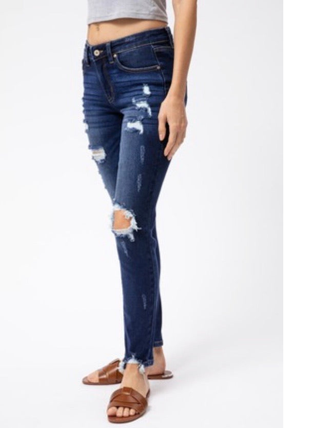Kan Can Dark Wash Distressed Jeans