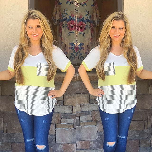 Lime Striped Color Block Top