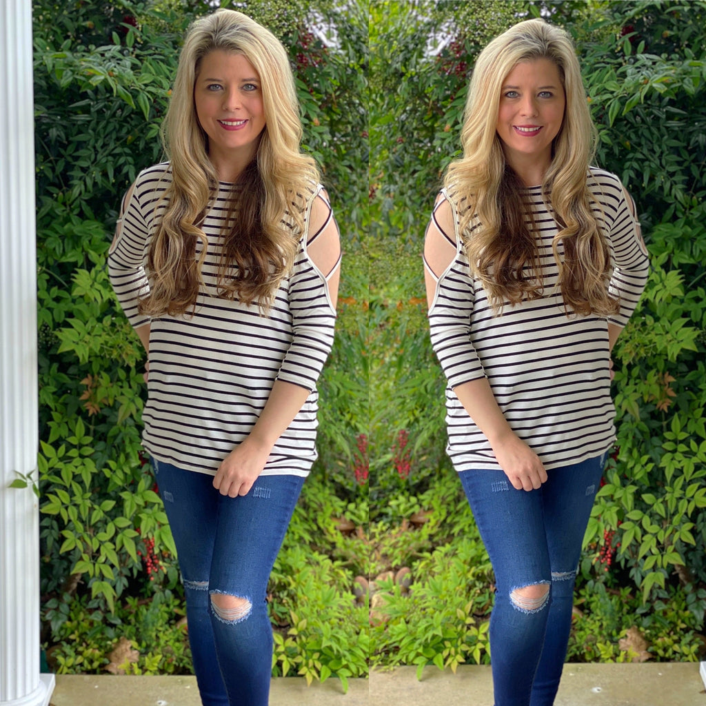 Stripe Criss Cross Sleeve Top