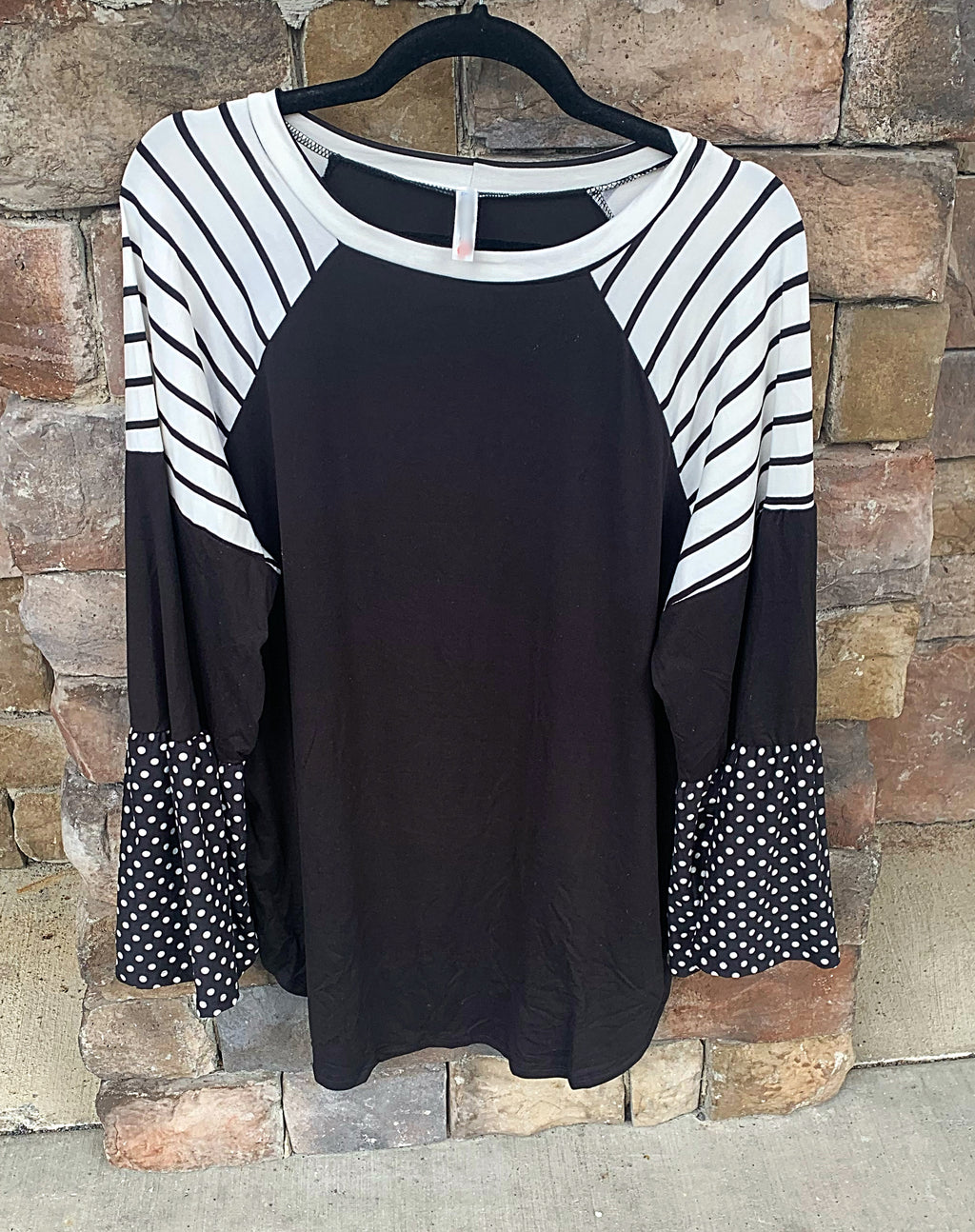 Curvy ~ Color Block Bell Sleeve Top