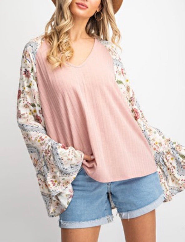Rib Knit Floral Bell Sleeve Top